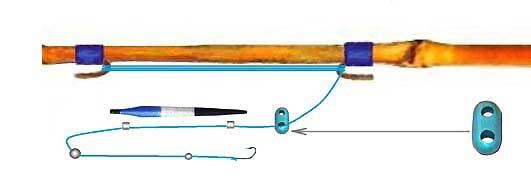 Оснастка бамбуковой удочки для ловли карася изображение