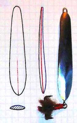 Выкройка заготовки лепестка судаковой самодельной блесны фотография
